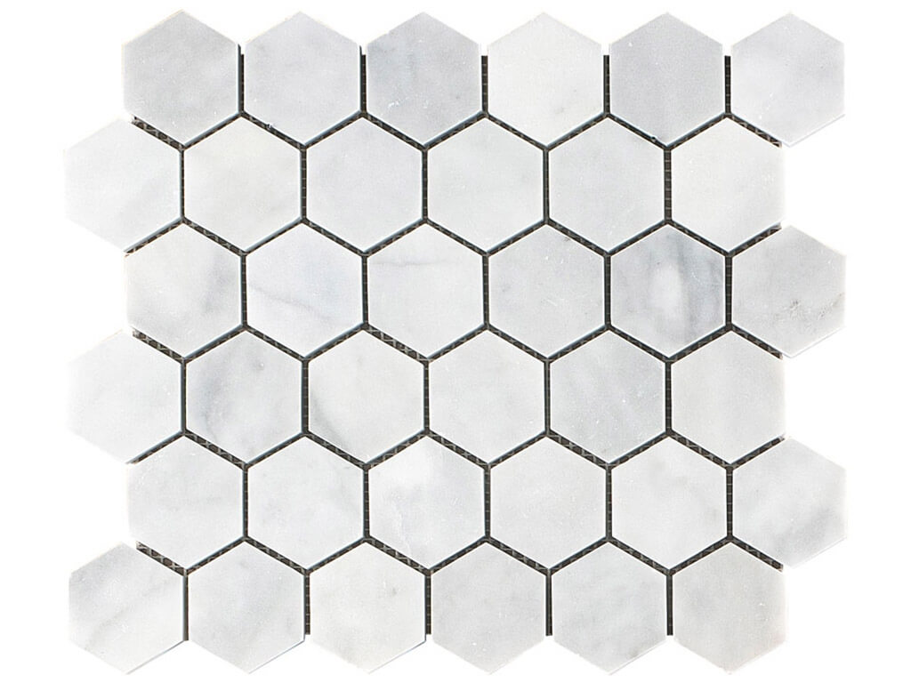 Carrara White Hexagon Marble Mosaic - Honed