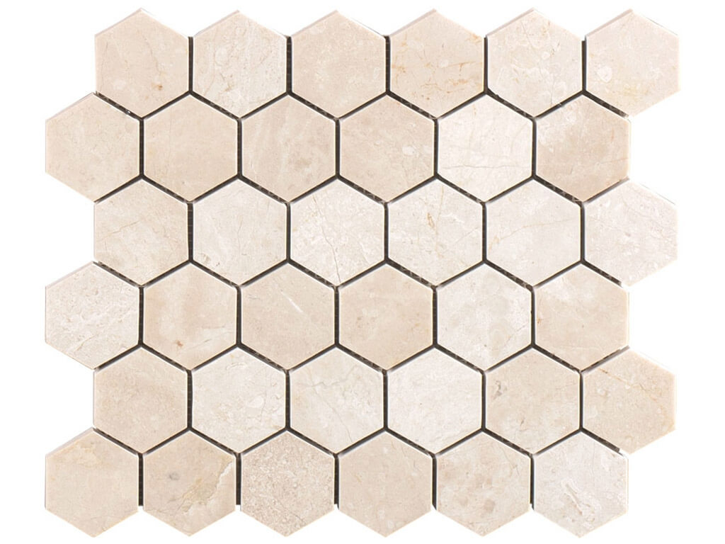 Crema Marfil Premium Marble Hexagon Mosaic - Polished