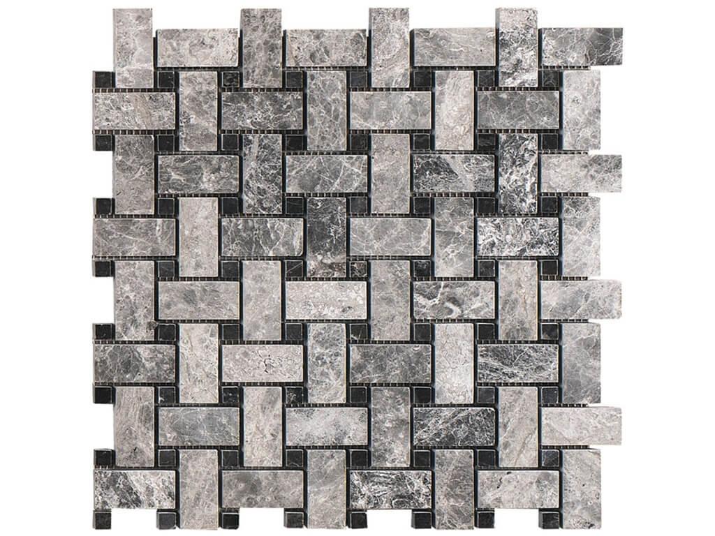 Silver Tundra - Nero Marquina Basketweave Marble Polished Mosaic