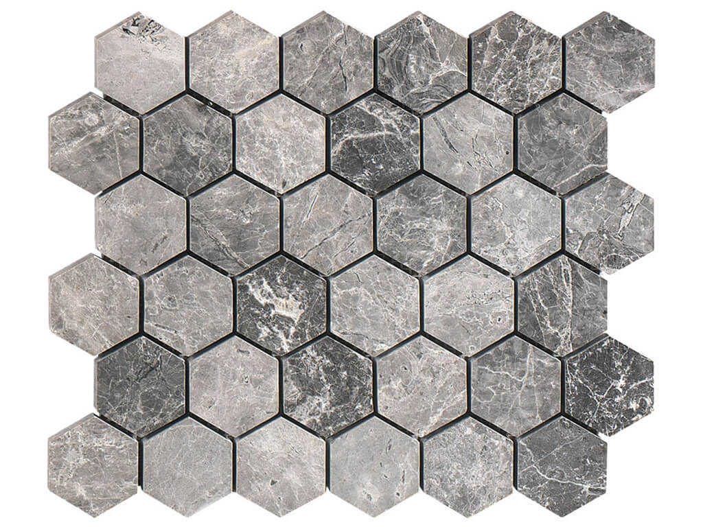 Silver Tundra Hexagon Mosaic - Polished