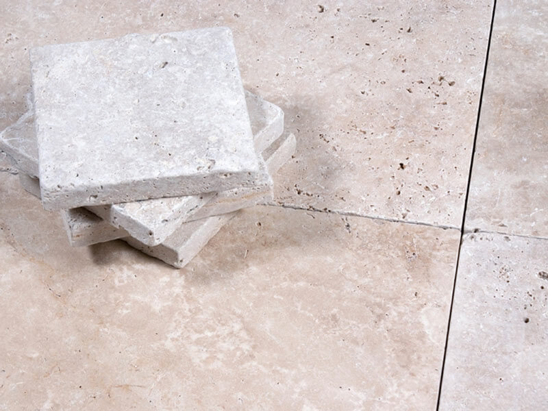 Ivory Travertine Paving - Tumbled & Unfilled