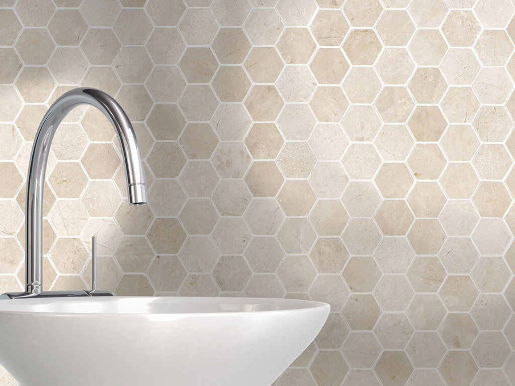 crema-marfil-hexagon-mosaic-polished