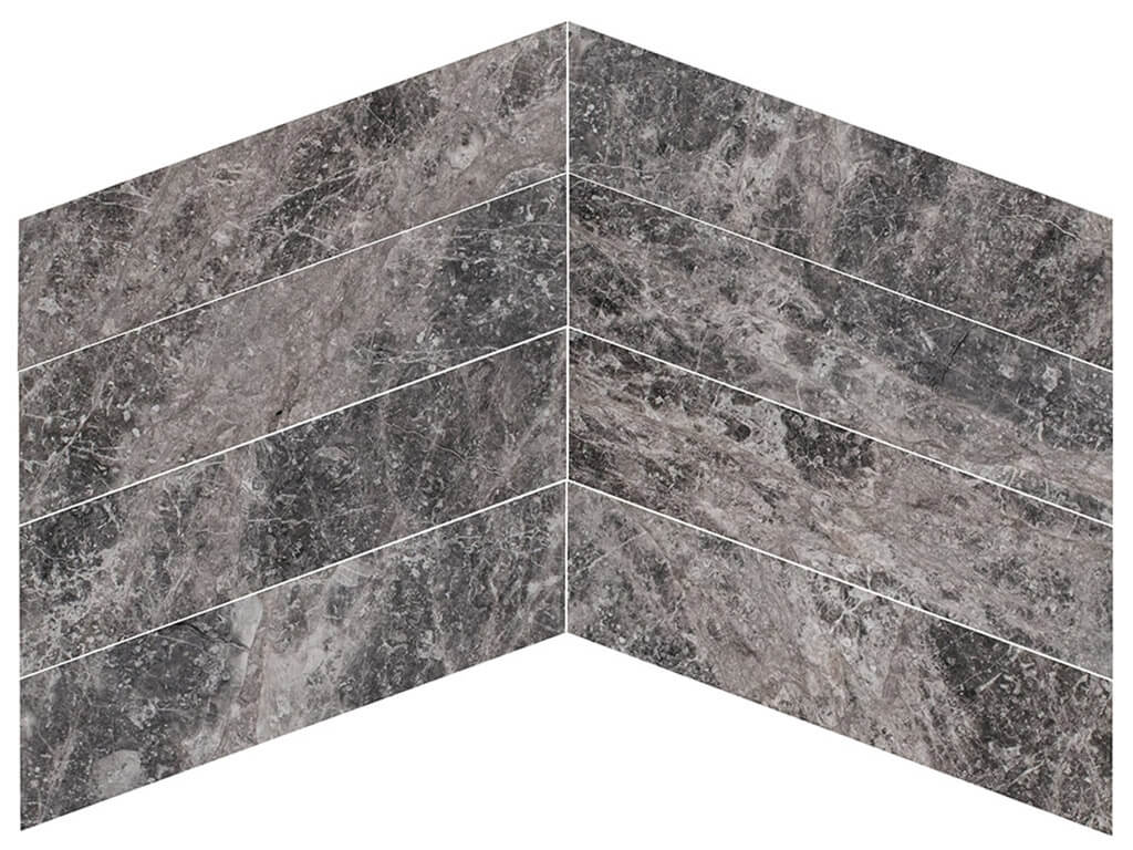 Silver Tundra Marble Chevron - Polished