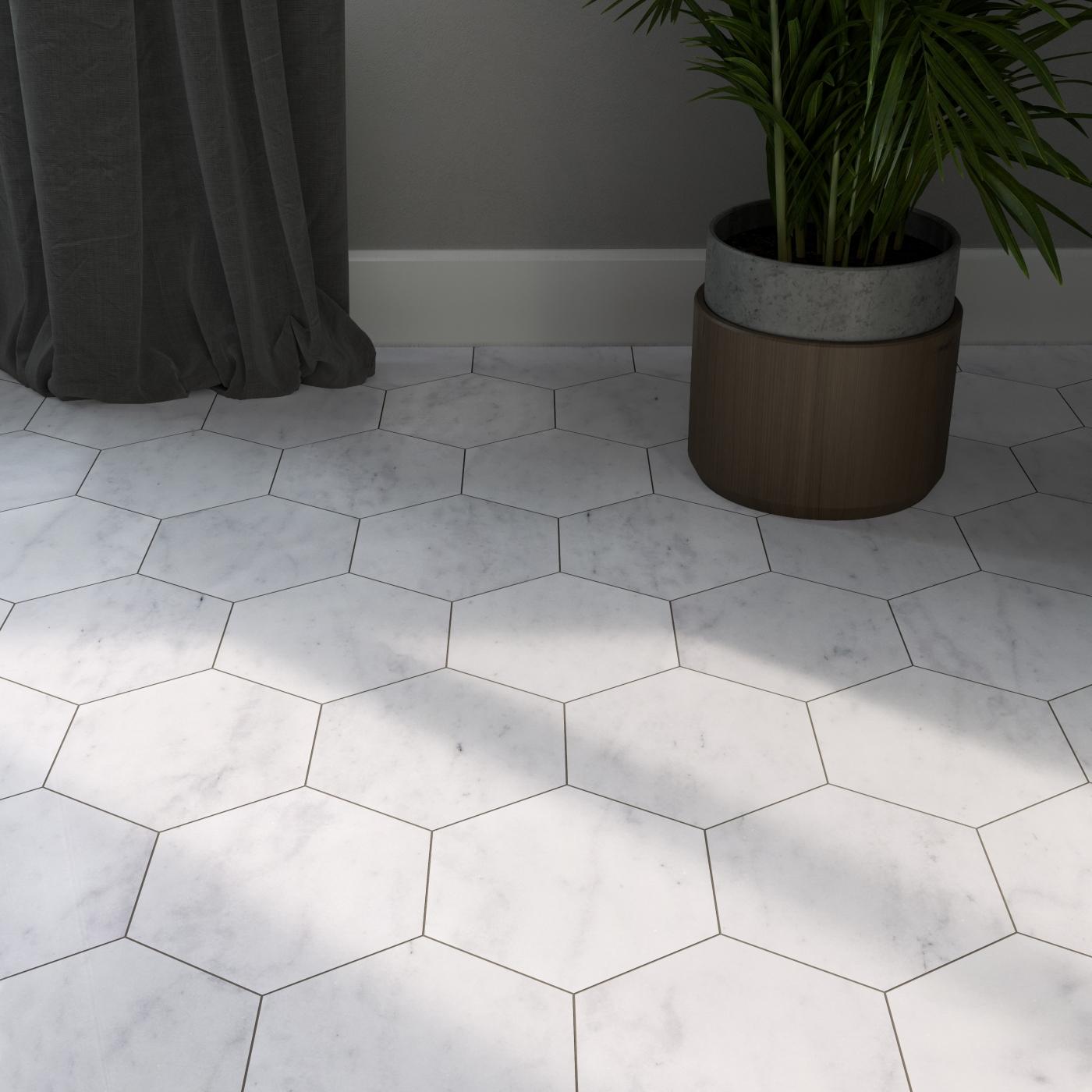 carrara-white-hexagon-polished