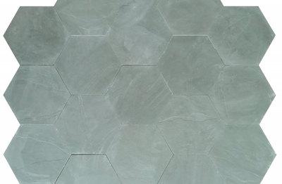 Woodland Grey - Green Calibrated Riven Slate Hexagon